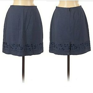 Ann Taylor Skirt Stretch Embroidered Blue Sz 6P